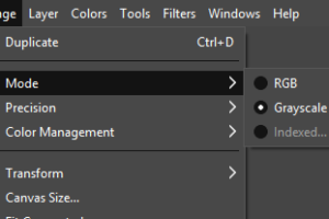GIMP-change color mode to grayscale